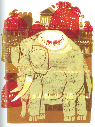 This serigraph has a very Indian feel to it. King Elephant 17x23 Serigraph cira 1976.