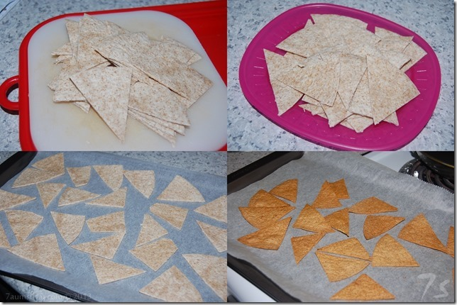 Whole wheat baked tortilla chips process
