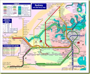 RAIL and FERRY MAP for SYDNEY