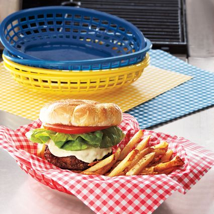 You'll feel like your eating at your favorite burger joint with these baskets with gingham liners. (surlatable.com)