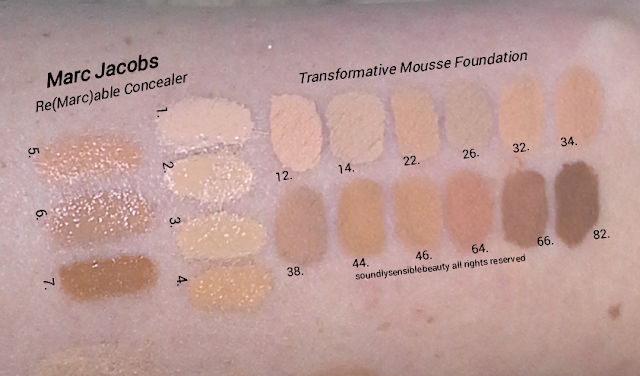 Marc Jacobs Re(Marc)able Concealer & Marc Jacobs Transformative Mousse Foundation; Review & Swatches of Shades