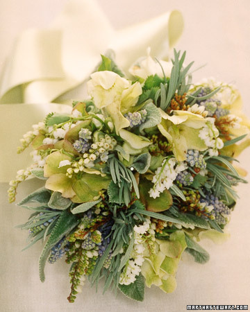 This herbal bouquet is stunning to see and likely just as pleasant to be around! (http://www.marthastewartweddings.com/)