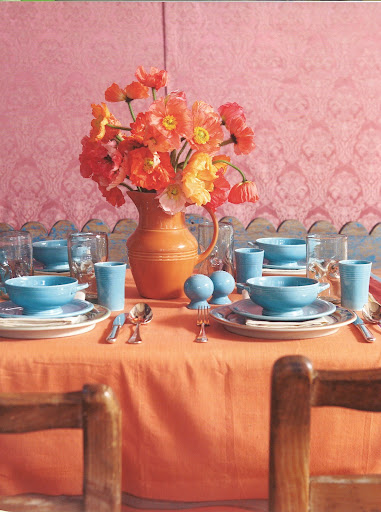 Orange poppies, blue Fiestaware and a shot of pink. That is color inspiration.