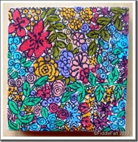Mini hand drawnfloral canvas