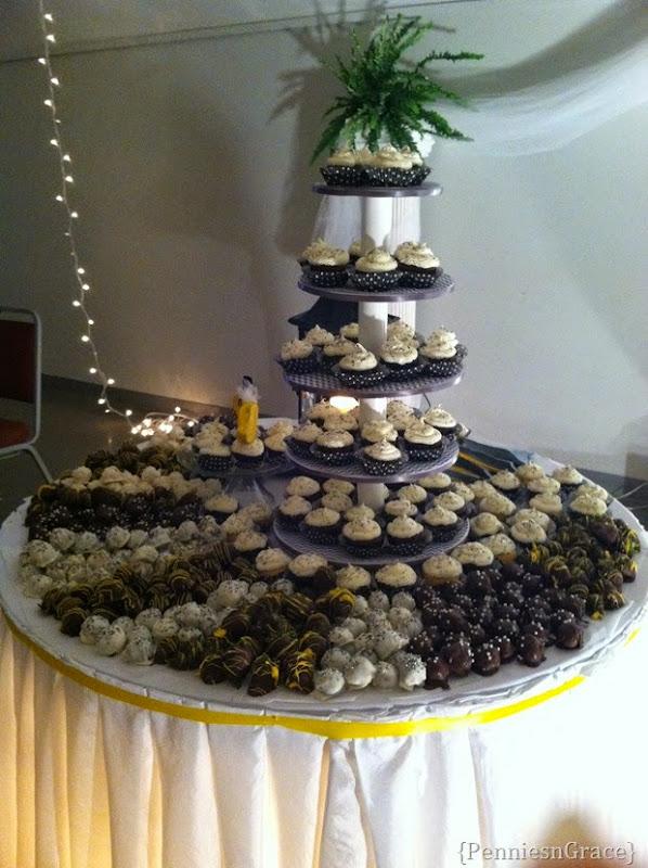 wedding candy and cupcake bar
