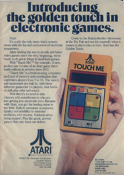 Atari Touch Me handheld trade advertisement