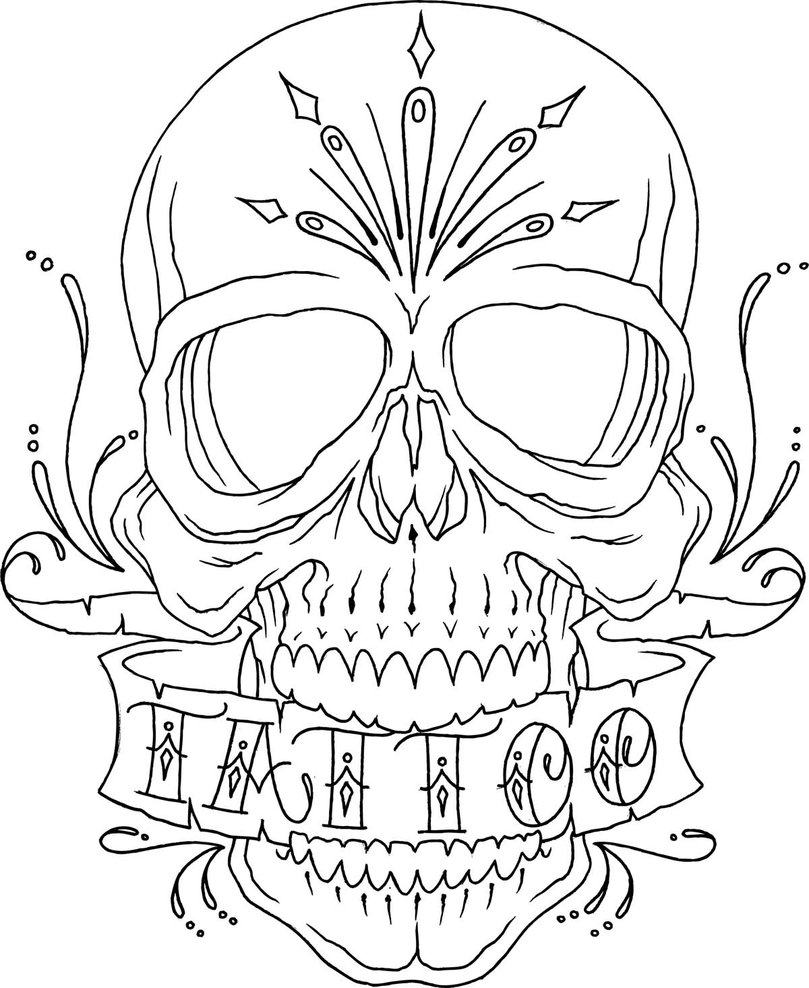 Skull Line Drawing Tattoo : Top skull tattoo flash outlines images for pinterest tattoos