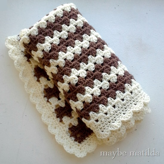 A simple and sweet brown + cream granny stripe blanket.