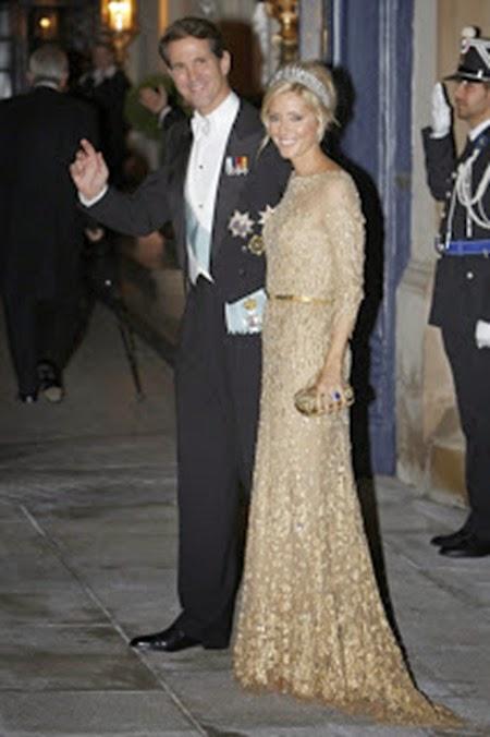 El príncipe Pablo y su esposa, la princesa Marie Chantal, sin duda una de las más elegantes de la noche