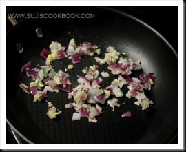 Saute crushed onions, ginger, garlic, green chilly and curry leaves