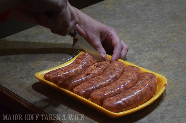 Cutting sausage to remove casing