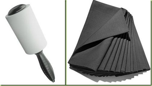 lint roller and black napkins