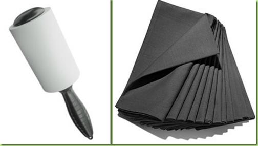 lint roller and black napkins