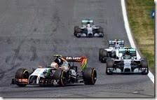 Il trenino guidato da Sergio Perez nel gran premio d'Austria 2014