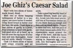 Joe Ghizs Caesar Salad Recipe