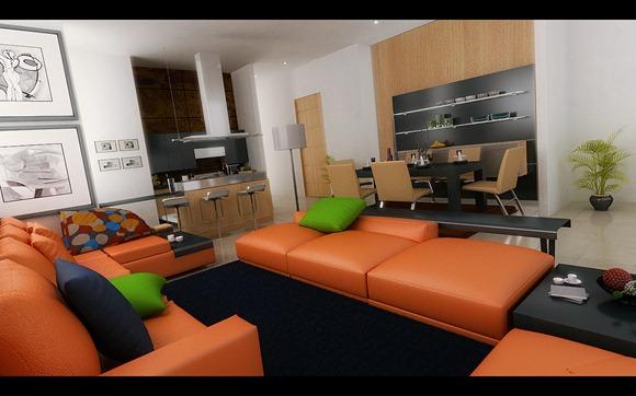 moderno sala comedor abierto con sofás naranjas