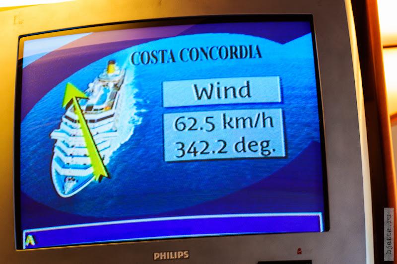 32. Круиз на Costa Concordia. День 7-й. Морской день, из Фуншала в Малагу, через гибралтар. А ветер крепчает.