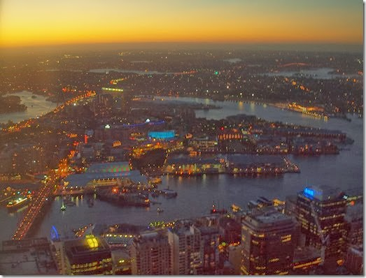 looking over Darling Harbour at night