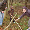 Shelter building in the woods