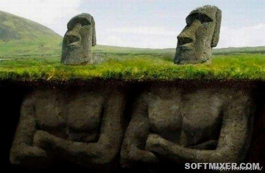 Все моаи, которые на данный момент находятся на острове, были восстановлены в XX веке