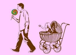 Selfish taking candy from baby