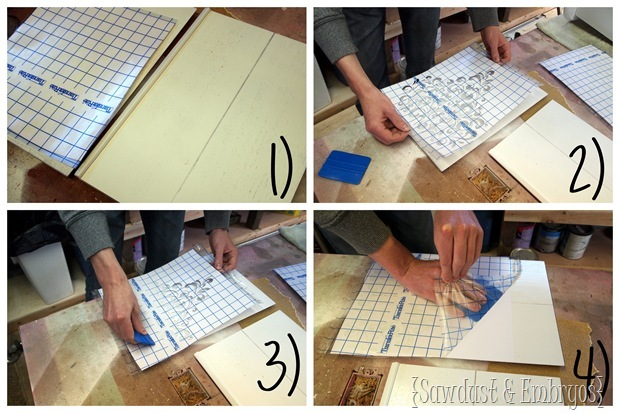 Applying Vinyl to Furniture to us as a STENCIL! {Sawdust and Embryos}