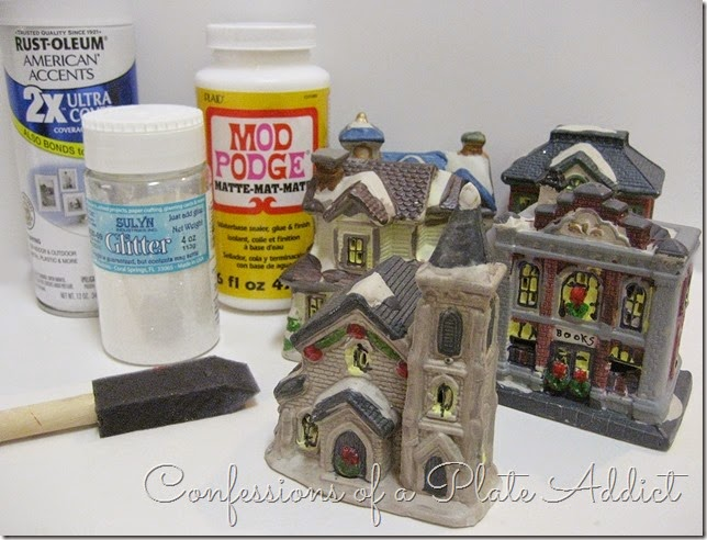 CONFESSIONS OF A PLATE ADDICT DIY Dollar Tree Snow Village supplies