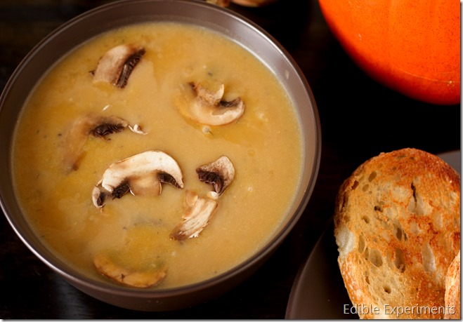 Roasted Pumpkin Soup with Mushrooms