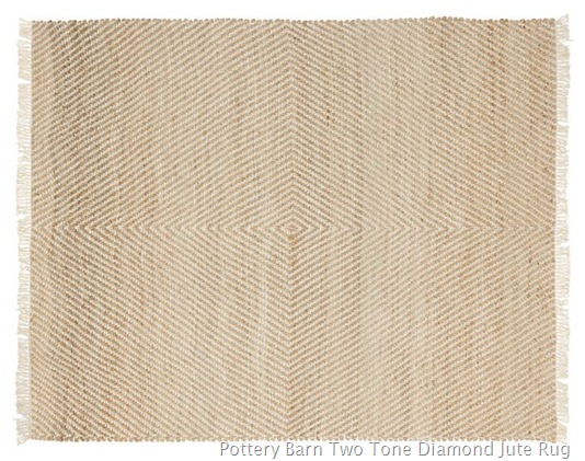 Pottery Barn Two Tone Diamond Jute Rug