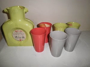 yellow Shel Glo double spout pitcher with tumbler set