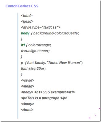 contoh struktur sederhana CSS