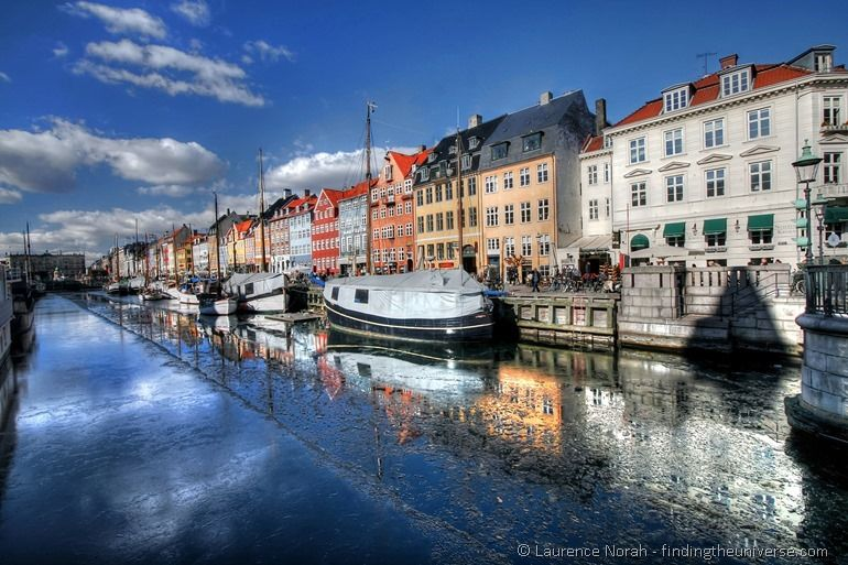 Nyhavn boats and colourful houses reflection copenhagen denmark