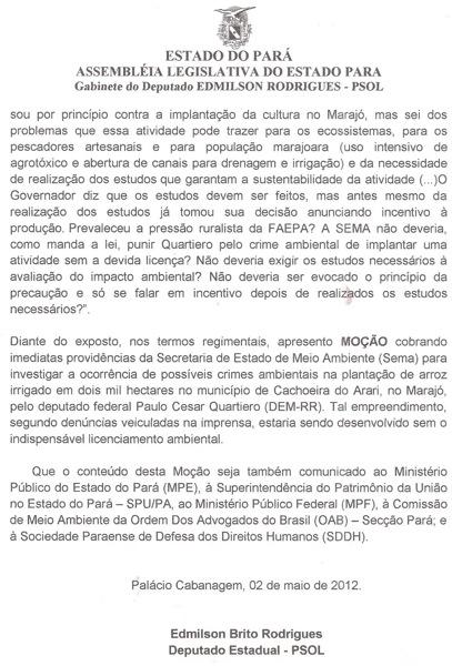 Moção contra arrozeiros Marajó pag 2