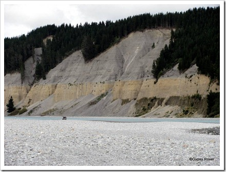 Rakaia Gorge showing distinct geological patterns in  the rock face.