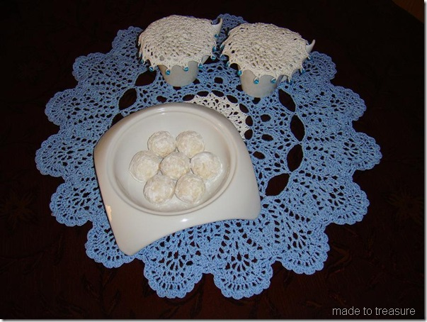 snowball on doily