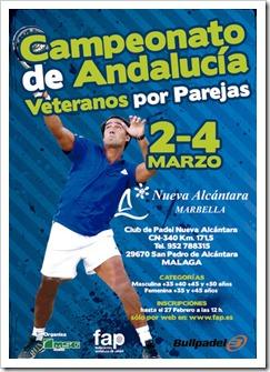 Campeonato de Andalucía Veteranos por parejas del 2 al 4 de marzo en Málaga.