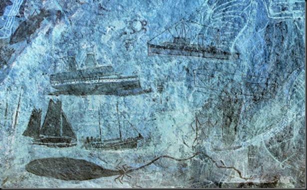 Rock Art,Western Arnhem Land.September10 2008.<br />Rock art at Djulirri,in the Wellington Range,Western Arnhem Land showing various more recent steam and sailing boats.<br />Photograph by Rick Stevens/