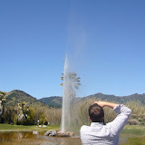 While Jon aims the camera at the geyser ...