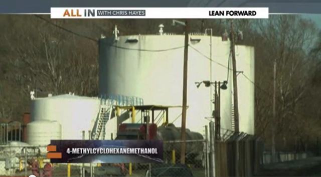 Storage tanks owned by chemical company Freedom Industries that leaked 4-methylcyclohexanemethanol (MCHM) into the Elk River, near Charleston, West Virginia, on 9 January 2014. Photo: MSNBC