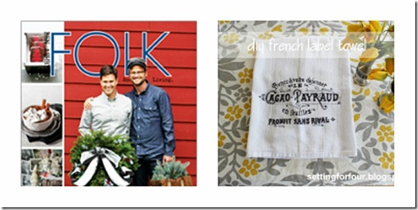 Folk Lifestyle Magazine + Blog Gift Ideas, DIY Vintage French Tea Towel from Setting for Four #Christmas #DIY #Tutorial #Craft #Gift
