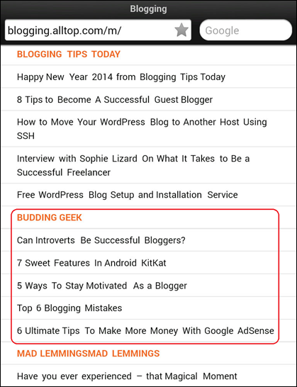 alltop blogging listings
