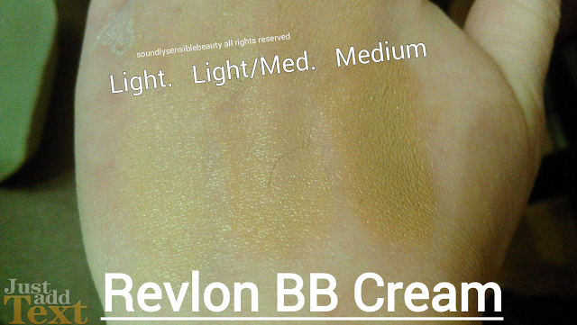 Revlon PhotoReady Beauty Balm BB Cream SPF 35 Swatches of Shades; Light, Light/Medium, Medium