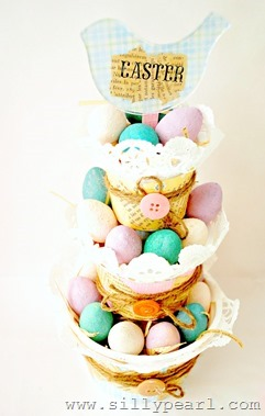 Tiered Easter Basket from Yogurt Cups