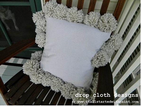 Pom Pom Drop Cloth Pillow 3
