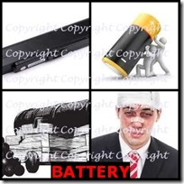 BATTERY- 4 Pics 1 Word Answers 3 Letters