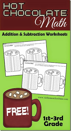 math worksheet : math worksheets  hot chocolate addition and subtraction : February Math Worksheets