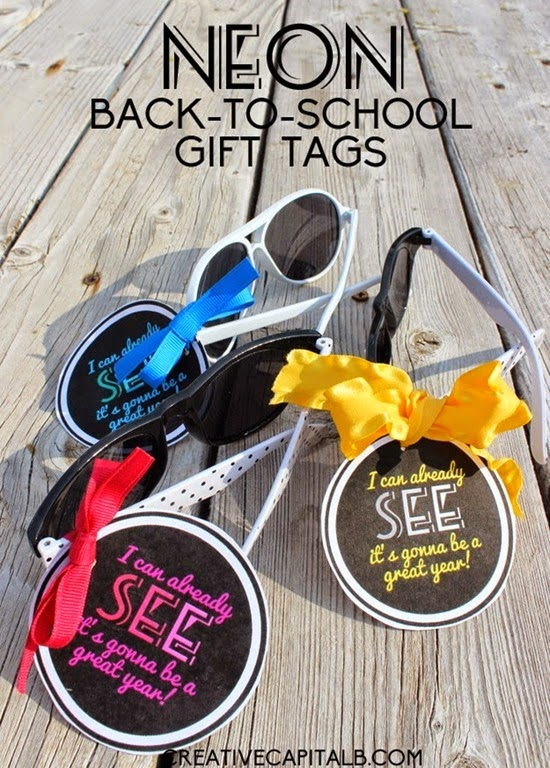 Back to School Neon Teacher Gift Tags