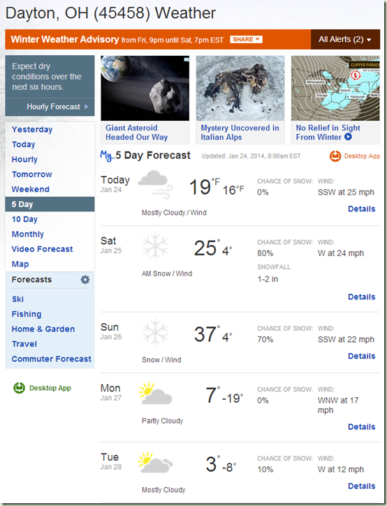 5 Day Weather Forecast for 45458
