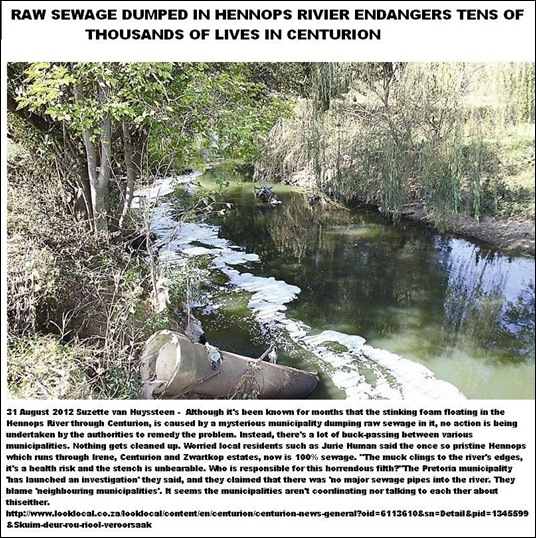 CENTURION RAW SEWAGE ENDANGERS HEALTH HENNOPS RIVIER