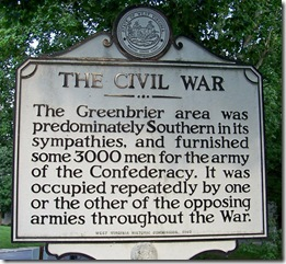 The Civil War marker in Lewisburg, WV - Greenbrier County